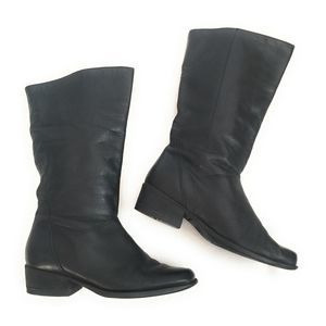 Naturalizer Black Leather Pull On Boots Size 6.5M